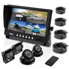 Pyle Mobile Video Surveillance System - Weatherproof Rearview, Backup and Dash Cam with HD 4 IR LED Night Vision Cameras and Monitor for Trucks, Trailers, Vans, Buses and Vehicles - Security Surveillance, Security Alarm, Surveillance System, Security Camera, Video Security, Security Tips, Wireless Video Camera, Multi Camera, Best Home Security