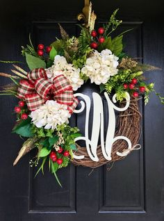 NEW Christmas Wreaths for Front Door Front Door by FleursDeLaVie