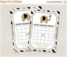 ON SALE Baby Shower BINGO Gold and Black Baby by PixieBabyShower