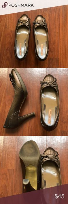 """Via Spiga shoes! Dark gold shoes. Very good condition. One of the shoes has a stain as seen on pic. Color is wonderful. Heel is approximately 3 1/2"""" to 4"""" Via Spiga Shoes Heels"""