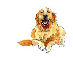 Golden Retriever Drawing in Pen & Ink with Watercolor, Pet Portraits, Dog Paintings, Memorials, in Gold, Rust, art print