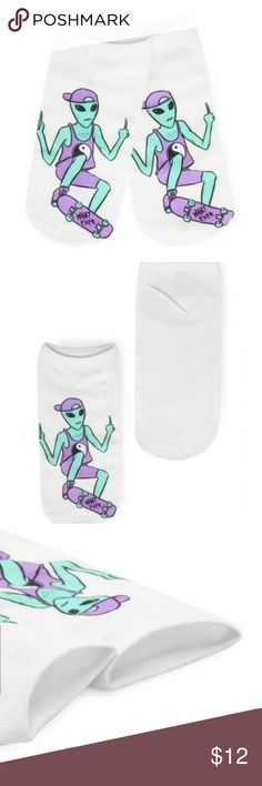 Rad Alien Socks Rad Alien Socks   Soft Cotton White with Alien Print Low Ankle Cut Fits up to size 8.5 , length 7.5in Nice stretch  NWOT Boutique Accessories Hosiery & Socks