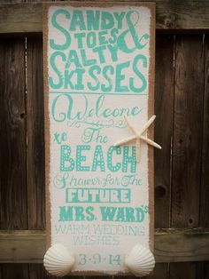 Beach Themed Bridal Shower Sign by Colleen Butler