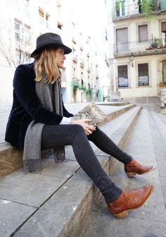 Grey/green long scarf with black hat, acne jeans and black boots (black denim jacket/ winter black jacket)