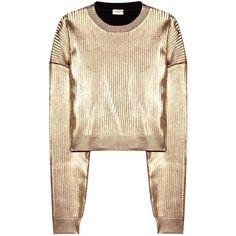 Saint Laurent Metallic Sweatshirt (1,210 PEN) ❤ liked on Polyvore featuring tops, hoodies, sweatshirts, sweaters, sweatshirt, shirts, gold, gold shirt, yves saint laurent and metallic shirt