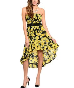 Look at this Black & Yellow Sunflower Strapless Dress on #zulily today!