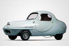 """Microcars: 1955 Fuji Cabin: The jelly bean-shaped Fuji Cabin was designed by Ryuichi Tomiya, an earlier chief of body design at Nissan Motors sometimes called """"the Leonardo da Vinci of Japan."""" Debuting at the 1955 Tokyo Motor Show, his Fuji Cabin is a two-seater coupe that sits on three wheels, powered by a Gasuden scooter motor with kick start."""