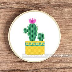 Tittle: Cactus This PDF counted cross stitch pattern available for instant download. Skill level: Beginner. Floss: DMC Fabric: 14-count Hoop: 5 inches SIZE: Design Area: 45h x 26w stitches. Area of embroidered image: 3,2 x 1,9 inches This PDF pattern include: • image of