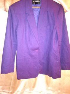 Vintage Women Blazer jacket size 4 plum/purple #Adolfo #Blazer