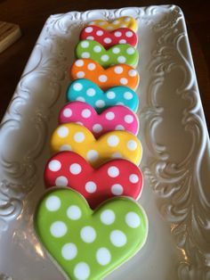 Polka dot hearts decorated sugar cookies for Valentine's Day. I just can't get e… Polka dot hearts decorated sugar cookies for Valentine's Day. I just can't get enough of polka dotted cookies! Fancy Cookies, Heart Cookies, Cute Cookies, Easter Cookies, Cupcake Cookies, Christmas Cookies, Thank You Cookies, Heart Shaped Cookies, Heart Cupcakes