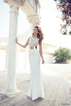 Lace-Top Wedding Dress With Chrome Belt #JulieVino