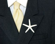 Starfish Boutonniere Shell Lapel Pin Beach Wedding Button Hole, White Sea Nautical, Men Men's