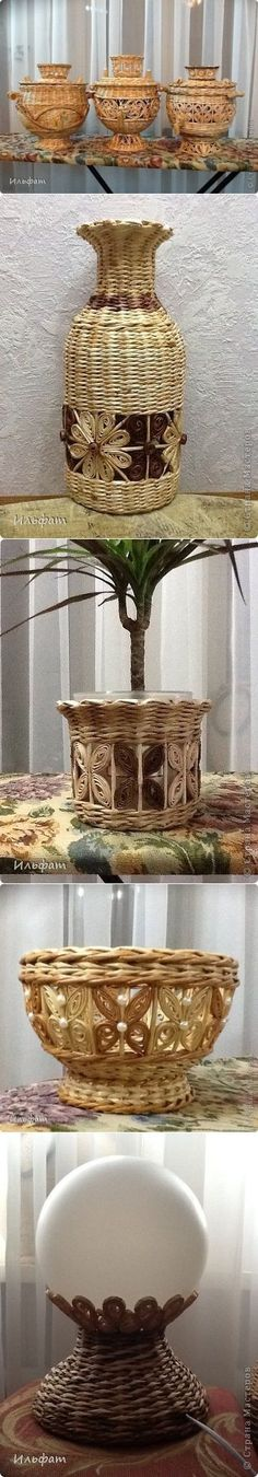 Torsion-pape o pape-vabosko de los periódicos. Newspaper Basket, Newspaper Crafts, Paper Weaving, Weaving Art, Willow Weaving, Basket Weaving, Diy Paper, Paper Art, Yarn Crafts