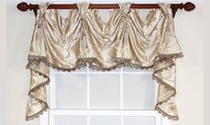 The most elegant of window treatments this victory swag is made from printed Jacobean , with or without tassel trim along the bottom edge. An adjustable valance made with front tabs for use with a decorative rod up to 2 Victorian Window Treatments, Victorian Windows, Valance Window Treatments, Custom Window Treatments, Window Coverings, Swag Curtains, Luxury Curtains, Window Curtains, Diy