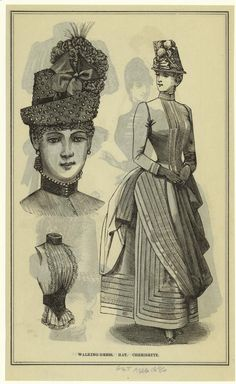 "Art and Picture Collection, The New York Public Library. ""Walking-Dress ; Hat ; Chemisette."" August 1886"