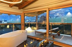 """Penthouse Suite """"Mountain Fire"""" - NEW and modern furnished Panoramic Suite 2 including 2 terrace) with oak wood floor, biologically high-quality … Flat Tv, Penthouse Suite, Steam Bath, Outdoor Pool, Outdoor Decor, Cosy Corner, Relaxation Room, Solid Wood Furniture, Workout Rooms"""