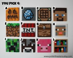 Minecraft Coasters perler beads by PolishTheStars Perler Bead Designs, Hama Beads Design, Pearler Bead Patterns, Perler Patterns, Perler Beads, Perler Bead Art, Fuse Beads, Minecraft Pattern, Hama Beads Minecraft