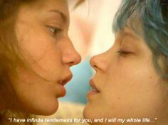 Blue is the warmest color My favorite scenes: 1. The spaghetti party where Adele gets everything ready and cooks the big pot of bolognese pasta. 2. When Adele eats the gyro with that boy in the beginning. 3. when she dances st the gay pride parade with Emma. 4. When Adele sits on the bed with her red nails holding the white coffee cup and Emma is yelling on the phone, and she tries to offer her breakfast quietly. 5. When Adele floats in the ocean