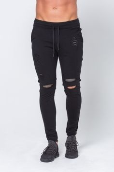 Sinners - Ripped Joggers - Black | Take your style seamlessly from gym to street with a little help from Sinners! Shop the full collection now @ Urban Celebrity!