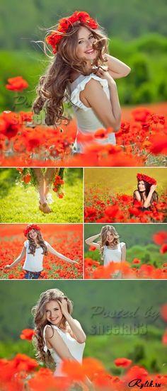 Красивая девушка на поле маков фото клипарт. Beautiful Woman on Poppy Field