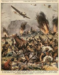 SuperStock - Battle of Amba Aradam, 1936. Illustrator Achille Beltrame (1871-1945), from La Domenica del Corriere, 1st March 1936. This Day in History: May 9, 1936 Italy formally annexes Ethiopia after taking the capital Addis Ababa on May 5
