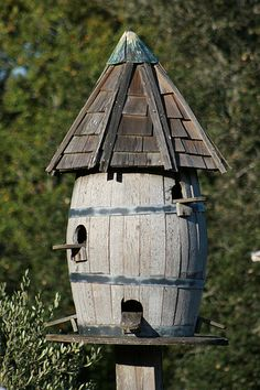 Wine Barrel Bird House!