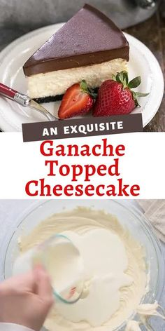 This luscious Ganache Topped Cheesecake combines a creamy vanilla cheesecake with a thick layer of dreamy chocolate! Perfect when you cannot decide between a chocolate or cheesecake dessert! Easy No Bake Desserts, Homemade Desserts, Fun Desserts, Dessert Recipes, Dinner Recipes, Best Cheesecake, Cheesecake Desserts, Nutella Cheesecake, Homemade Cheesecake