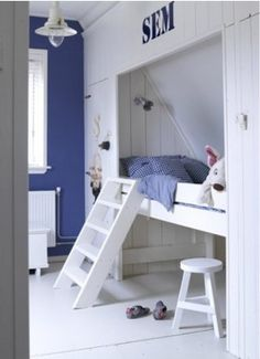 Play bed for sloping ceilings. Children's built-in bed in sloping roof. Loft bed in roof … - Modern Boys Room Decor, Boy Room, Built In Beds For Kids, High Beds, My New Room, Girls Bedroom, Room Inspiration, Furniture, Interior Design