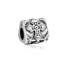 August Daily Deal Carved Cross Charm 925 Sterling Silver Fit All Brands