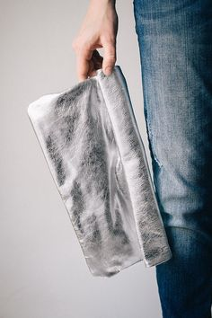 NEW  Oversized Metallic Leather roll Clutch Silver 14 inch, every day clutch