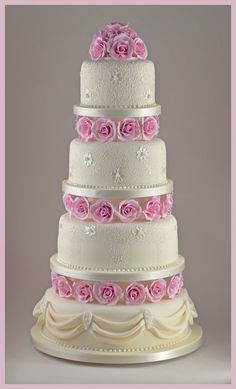 Romantic Rose and Lace Wedding Cake by Sandra Monger Wedding & Celebration Cakes (6/1/2013) View details here: http://cakesdecor.com/cakes/65675