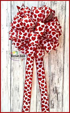 Valentine Bow Red White Heart Bow Wreath Bow by TootsieSuesWreaths