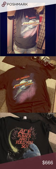 Vintage Ace Frehley T-shirt 🚨 Original 1987 Frehley's Comet tour shirt SPRING FORD printing SIZE large (42-44)  💫  NOT FOR SALE unless you make an offer I can't refuse 🤔💰💰💰💰 Shirts