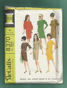 1966 McCalls 8370  Straight Dress with Front & Back by MrsWooster, $9.50