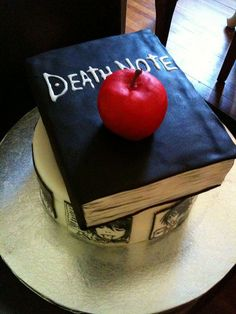 death note cake omg want one for my birthday!! only if the cake came with a god of death also...that would be cool :D