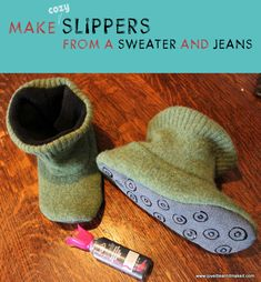 Make A Sweater And Jeans Into Cozy Slippers   Love It Learn It Make It