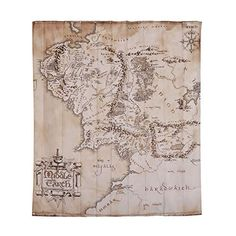 Elbenwald Herr der Ringe Duschvorhang Mittelerde Karte Wand Banner 180x200cm beige Lord Of The Rings, Vintage World Maps, Invitations, Curtains, Gifts, Inspiration, Map Of Middle Earth, Map Earth, Curtain Ring