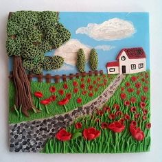 FIMO 50 World project tile from Manon van Kempen, Spain Clay Art Projects, Polymer Clay Projects, Crafts For Less, Art Au Crochet, Polymer Clay Painting, Art Quilling, Clay Wall Art, Play Clay, Clay Miniatures