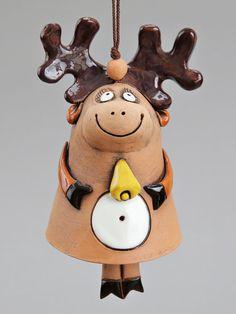 Ceramic Deer Bell The Deer with Bell Kids toy School by Molinukas, €6.00