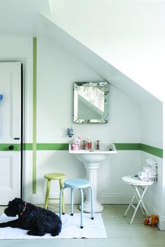 Light and green child's bedroom in Farrow & Ball colours. Wall: Cooking Apple Green, All White & Calke Green Modern Emulsion. Stools: Churlish Green & Parma Gray Estate Eggshell.