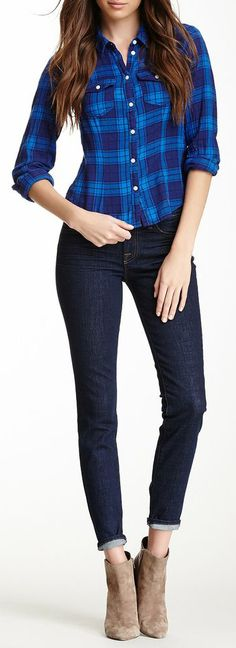 I don't like the shirt but the jeans and booties rock!  Mid-Rise Skinny Jean