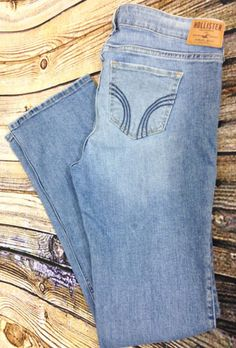 Hollister Boot Cut Distressed Light Wash Jeans Size 13 R Stretch Denim W32 L32 #Hollister #BootCut