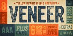 Veneer - Webfont & Desktop font « MyFonts Really love the variety and distress options here #distressedfont #fontdesign #font #fonts #typography #vintagefont #retrofont #letterpressfont