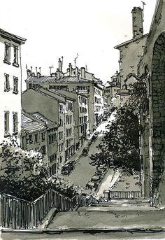 Escaliers sous la place Bellevue, Lyon - France | by bruno molliere