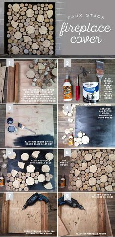 DIY Birch Wood Fireplace Cover - Home Professional Decoration Fireplace Fronts, Fireplace Logs, Fireplace Cover, Farmhouse Fireplace, Fireplace Inserts, Living Room With Fireplace, Fireplace Ideas, Gas Fireplaces, Fireplace Decorations