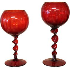 Pair of Hand Blown red glass goblets  Italy  1960's