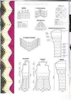 Delicadezas en crochet Gabriela: Abrigo tejido en varios tonos gráficos del modelo