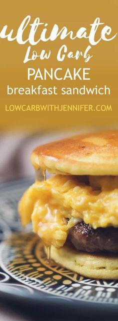 This low carb breakfast sandwich uses pancakes as the bun and it's filled with amazing soft scrambled eggs and a sausage patty. Top with sugar free maple syrup! #lowcarbrecipe #lowcarbdiet #ketorecipe #ketodiet