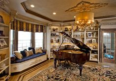 Baby Grand piano Living room window view, teddy car in play room - transitional - Living Room - Philadelphia - Joanne Balaban Designs