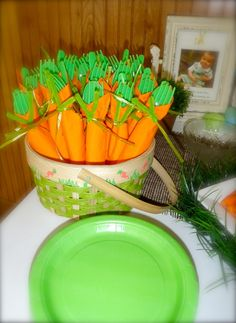 Carrot napkins and utensils at an Easter party!  See more party ideas at CatchMyParty.com!